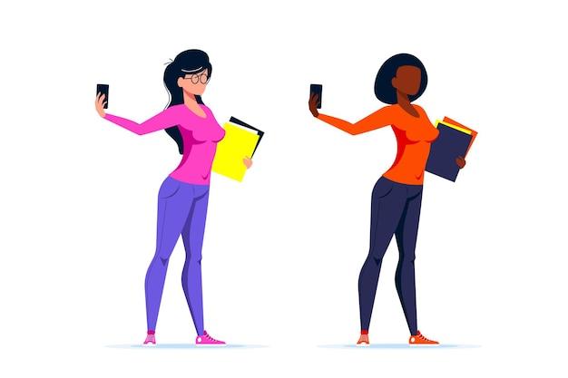 Set van twee karakters. jonge kaukasische of afrikaanse amerikaanse studentenvrouw die selfie met smartphone maken. vlakke stijl illustratie.