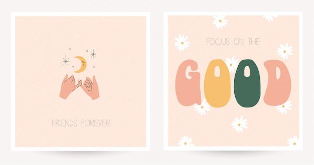 Set van twee kleurrijke ansichtkaarten in hippiestijl met vintage belettering.