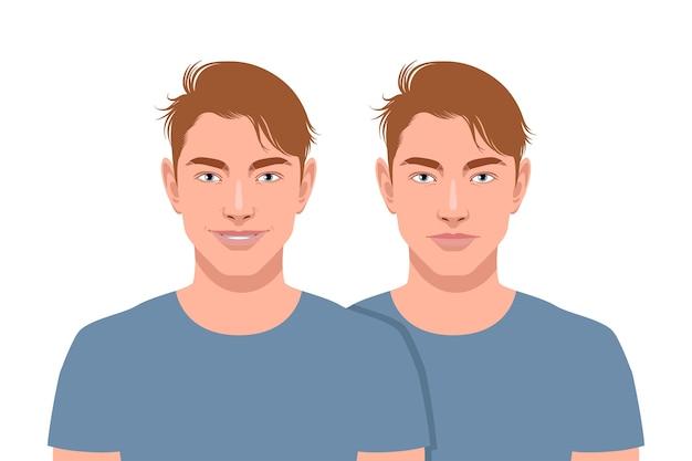 Set van twee man. glimlachen en niet geïsoleerd op een witte achtergrond.