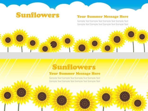 Set van twee naadloze vector achtergrondillustraties met zonnebloemen
