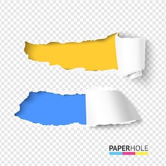Set van twee realistische heldere gescheurde papieren gaten met scheurranden voor webbanner