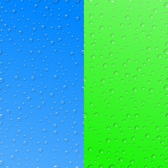 Set van twee realistische waterdruppel naadloze patronen voor sjabloondecoratie en bekleding op de kleurrijke achtergronden.