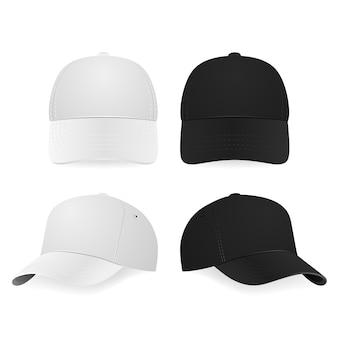 Set van twee realistische witte en zwarte baseball caps geïsoleerd op een witte achtergrond. illustratie.