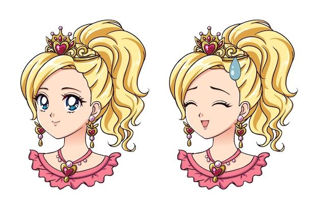 Set van twee schattige anime prinses portretten