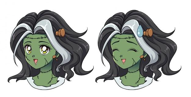 Set van twee schattige anime zombie meisje portret. geopende en gesloten ogenversies.