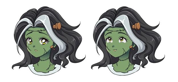 Set van twee schattige anime zombie meisjes