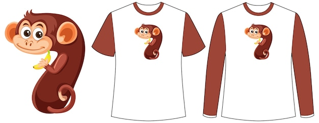 Set van twee soorten overhemd met aap in nummer zeven vorm