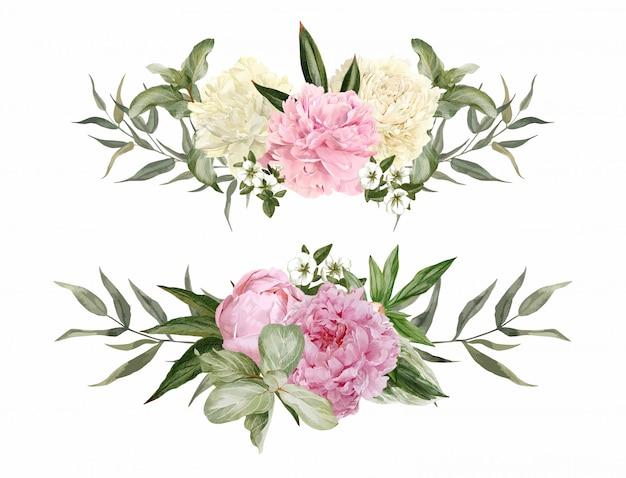 Set van twee symmetrische aquarel bloemstukken