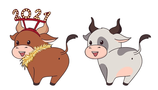 Set van twee vrolijke kleine koe met kerstaccessoires