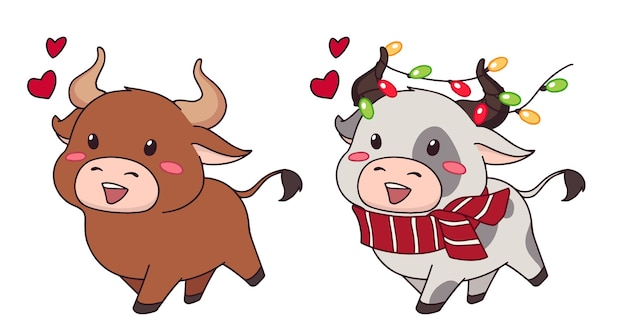 Set van twee vrolijke kleine koe met kerstslinger en sjaal