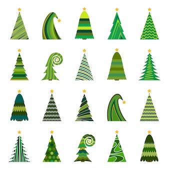 Set van twintig verschillende kerstbomen. geïsoleerde vectorillustratie voor prettige kerstdagen en gelukkig nieuwjaar.
