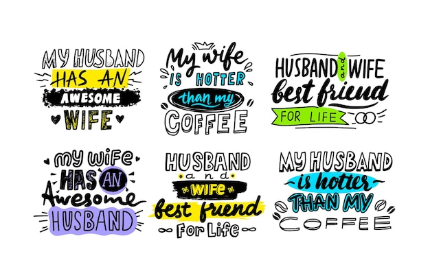 Set van typografie voor man en vrouw. belettering, handgeschreven lettertype met doodle elementen geïsoleerd op een witte achtergrond