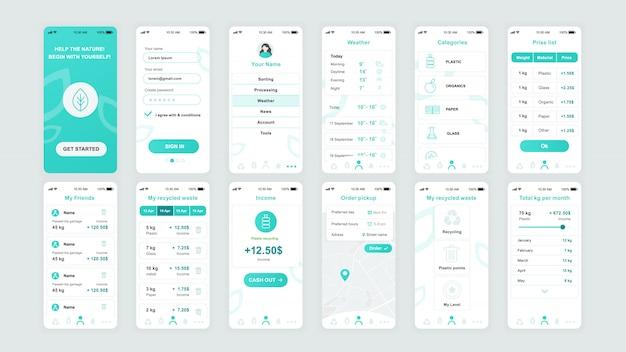 Set van ui, ux, gui schermen ecology app flat-sjabloon
