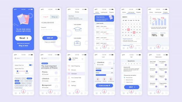 Set van ui-, ux-, gui-schermen platte sjabloon voor onderwijsapp
