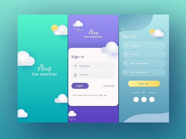 Set van ui-, ux-, gui-schermen weer-app inclusief zoals aanmelden