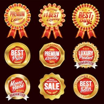Set van uitstekende kwaliteit rode badges met gouden rand.