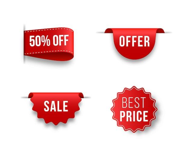 Set van unieke rode linten voor reclame promotie verkoop tekst kop titel decoratie frame