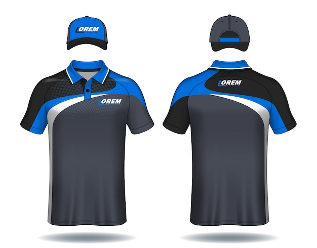 Set van uniforme sjabloon polo shirts en doppen.