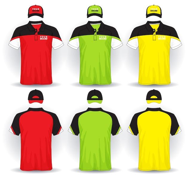 Set van uniforme sjabloon poloshirts en petten