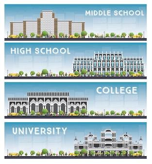 Set van universiteits-, middelbare school- en hogeschoolstudiebanners.