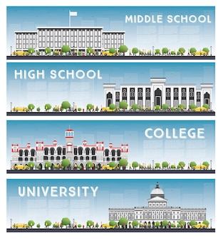 Set van universiteits-, middelbare school- en universiteitsstudiebanners. skyline ingesteld