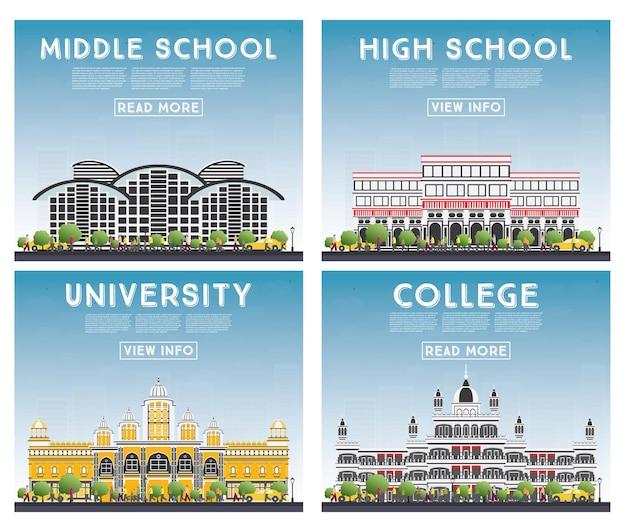 Set van universiteits-, middelbare school- en universiteitsstudiebanners.