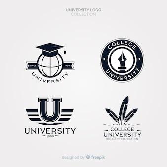 Set van universiteitsemblemen in vlakke stijl