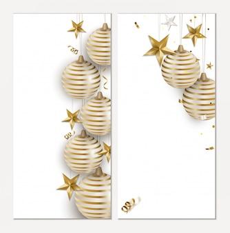 Set van vakantie wenskaarten voor kerstmis en nieuwjaar.