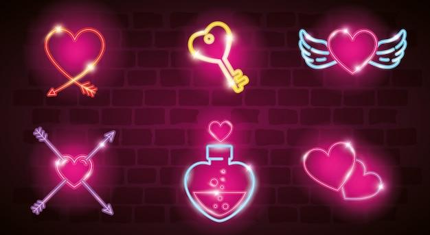 Set van valentijn pictogrammen in neonlicht