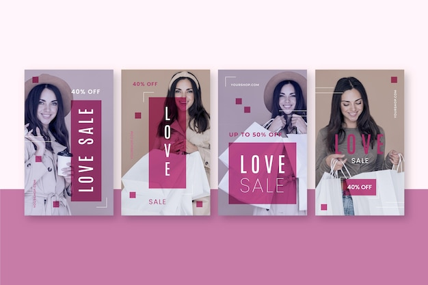 Set van valentijnsdag instagram-verhalen