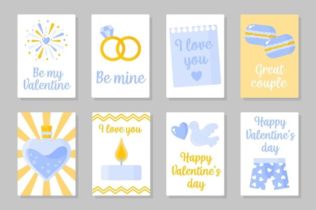 Set van valentijnsdag kaart Premium Vector