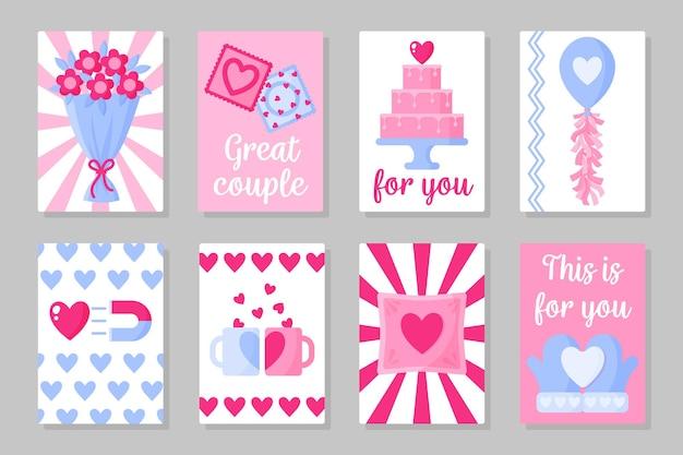 Set van valentijnsdag kaart