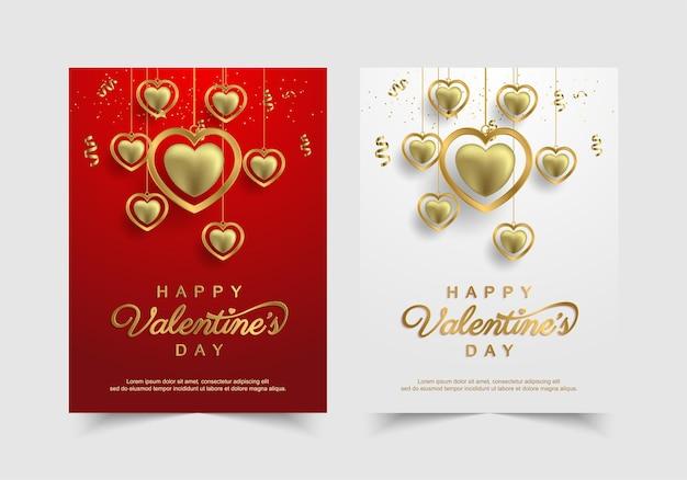 Set van valentijnsdag met gouden mooie harten