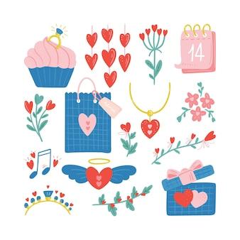 Set van valentijnsdag vectorillustratie trendy kleurenpalet en leuke romantische elementen d