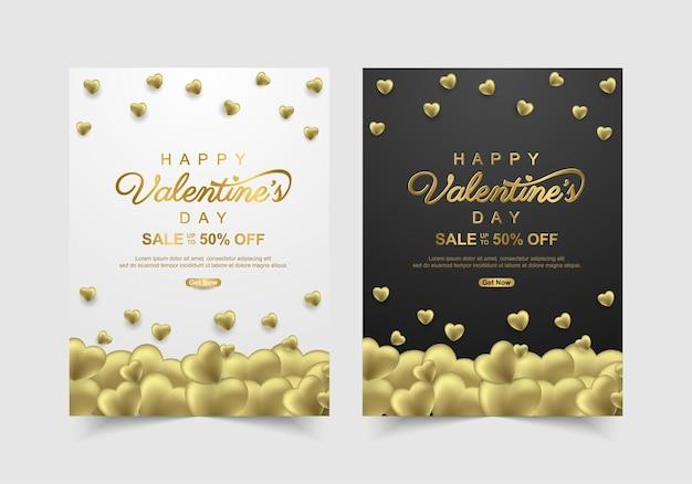 Set van valentijnsdag verkoop banner met mooie gouden. sjabloon voor promotie en winkelen of voor liefde Premium Vector