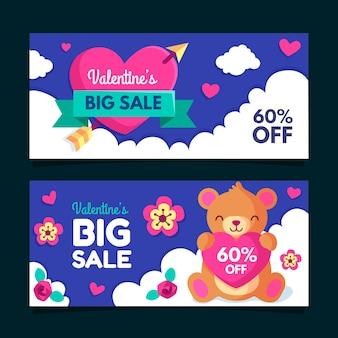 Set van valentijnsdag verkoop banners