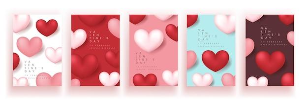 Set van valentijnsdag verkoop poster of banner achtergrondgeluid.