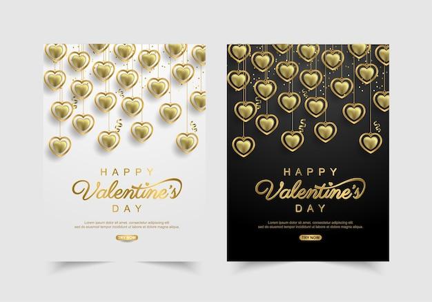 Set van valentijnsdag viering banner met mooie gouden. Premium Vector