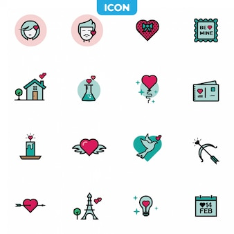 Set van valentines pictogram.