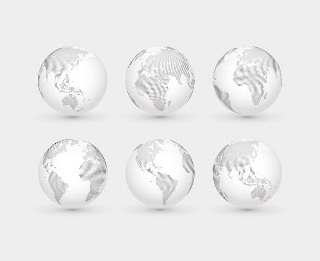 Set van vector abstracte gestippelde bollen. zes bollen, inclusief uitzicht op noord- en zuid-amerika, azië, australië, afrika, europa en de atlantische oceaan