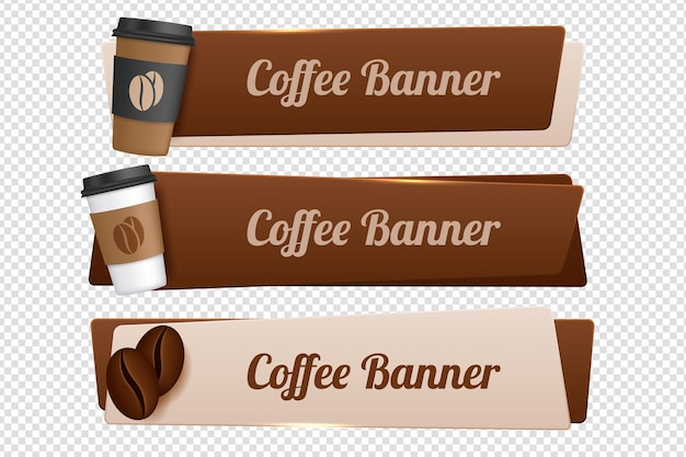 Set van vector banners met koffie