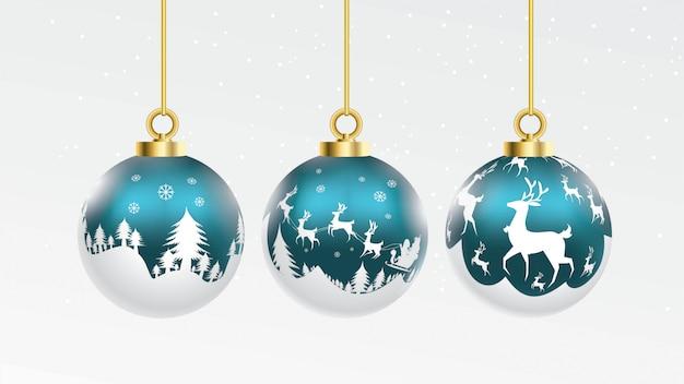 Set van vector blauwe en witte kerstballen met ornamenten