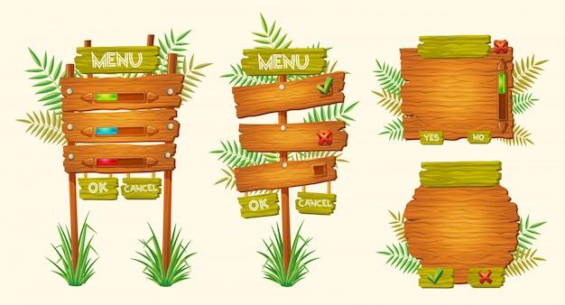 Set van vector cartoon houten tekens van verschillende vormen