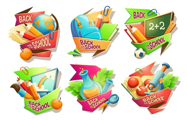 Set van vector cartoon illustraties, badges, stickers, emblemen, gekleurde pictogrammen van schoolbenodigdheden