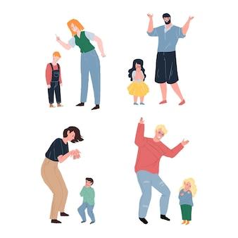Set van vector cartoon platte bovenliggende karakter zweert, schreeuwt tegen boos huilend kind. gezonde familierelaties, emoties, sociaal gedrag, conflict resolutie psychologie concept, website banner advertentie ontwerp
