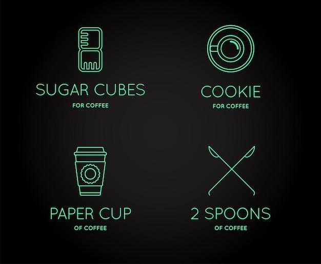 Set van vector coffee accessories-pictogrammen met letterteken kan als logo worden gebruikt