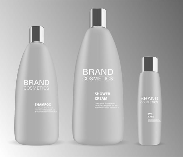 Set van vector cosmetische fles. container mockup