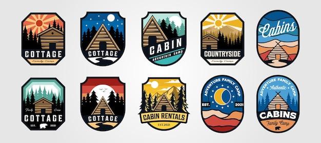 Set van vector cottage buiten logo embleem illustratie