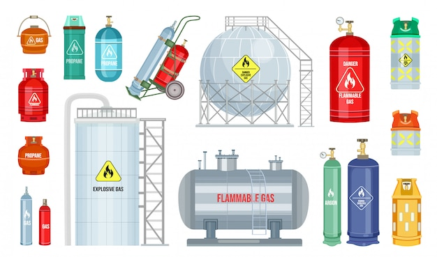 Set van vector gasfles. veiligheidsbrandstoftank van heliumbutaan-acetyleen