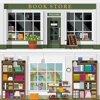 Set van vector gedetailleerde platte ontwerp boekhandel gevel en interieur.